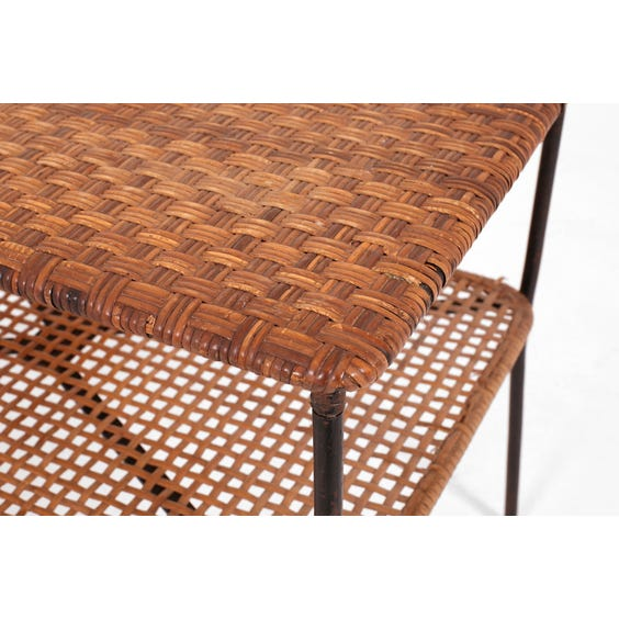 Midcentury natural rattan side table image