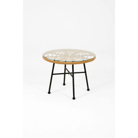 Circular spiral rattan side table image