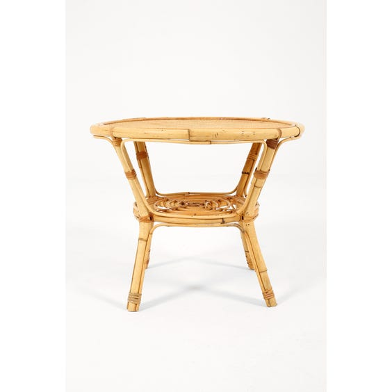 Midcentury woven rattan side table image
