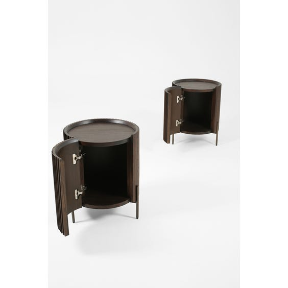 Darkwood drum side table image