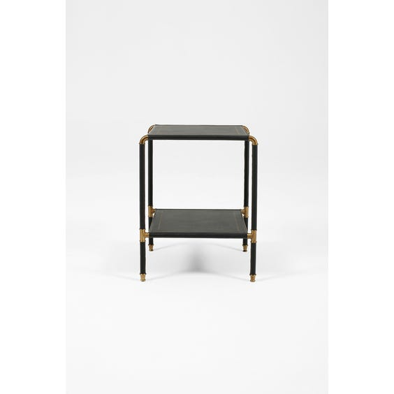 Leather and brass side table  image