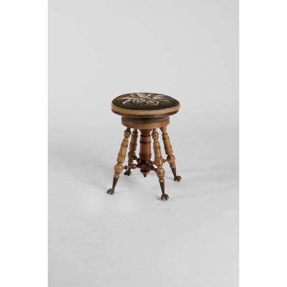 Vintage turned darkwood piano stool image