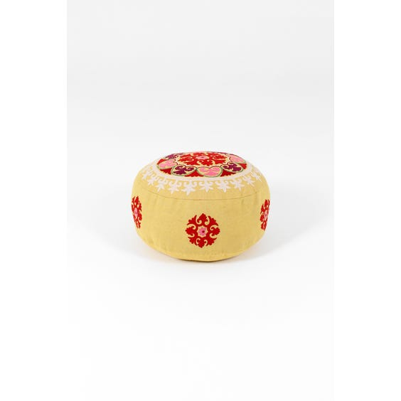 Moroccan yellow wool floral pouffe image