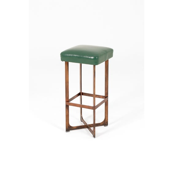 Brass green leather tall stool image