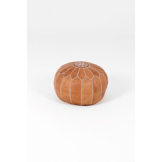 Moroccan brown stitched leather pouffe image
