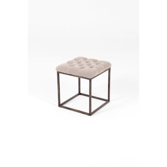 Natural linen buttoned square stool image