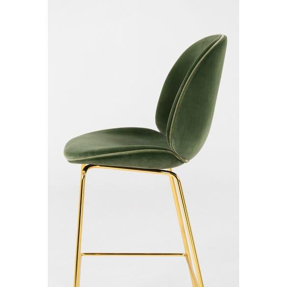 Beetle green velvet high stool image