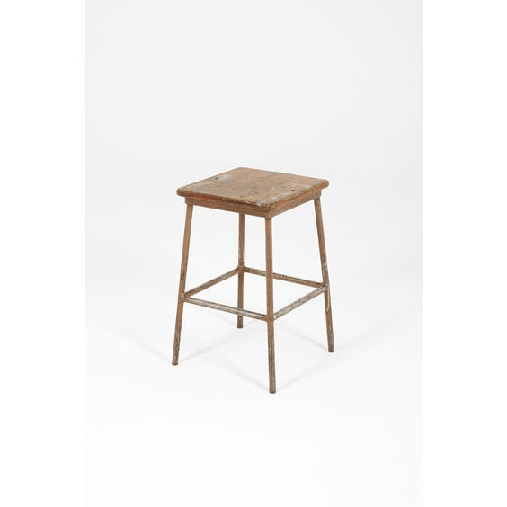 Industrial square wooden top stool image