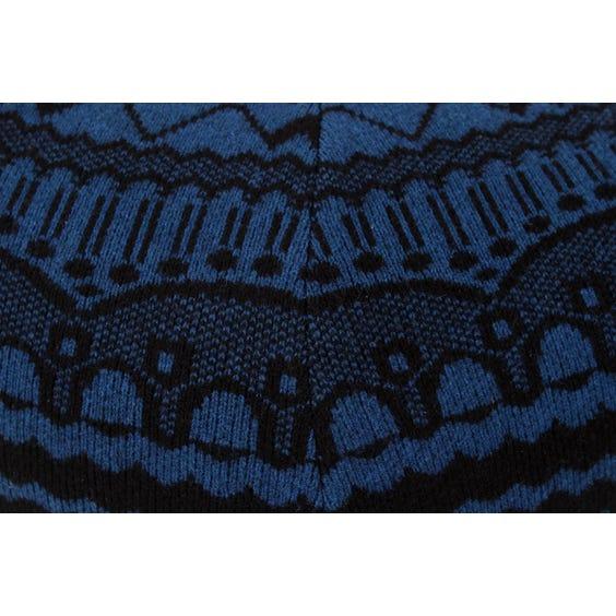 Indigo knitted wool pouffe image