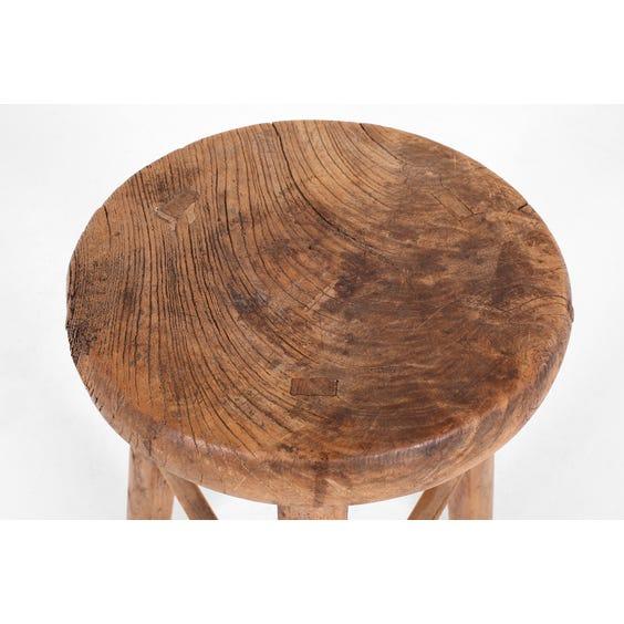 Rustic Chinese elm round stool image