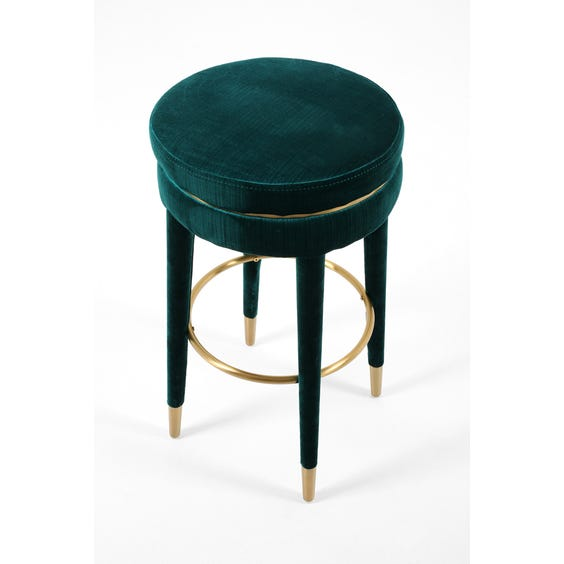 Peacock blue velvet bar stool image