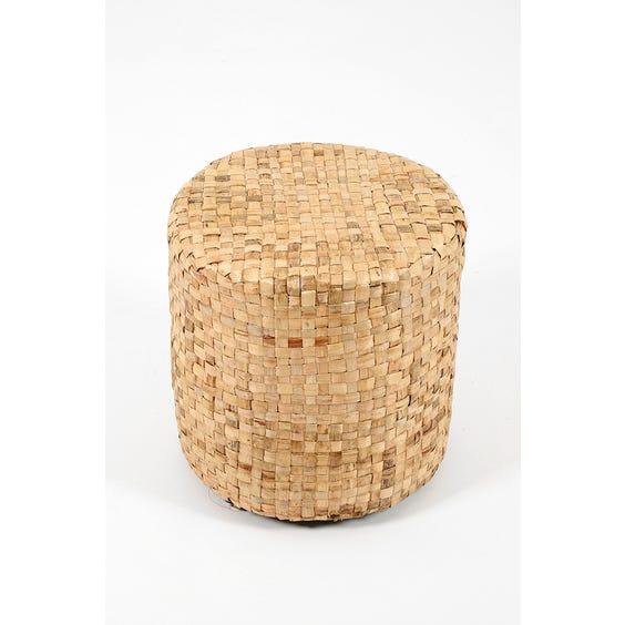 Modern lattice raffia low stool  image