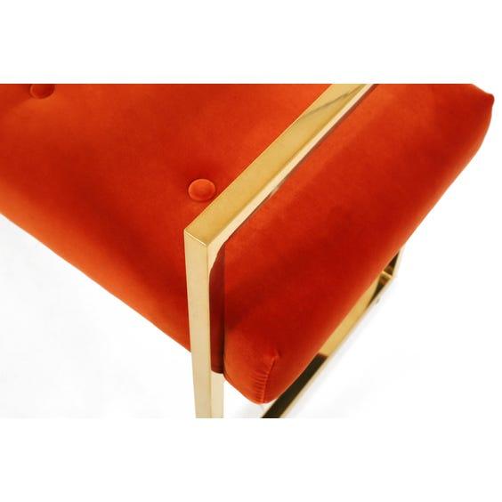 Burnt orange velvet dressing table stool image