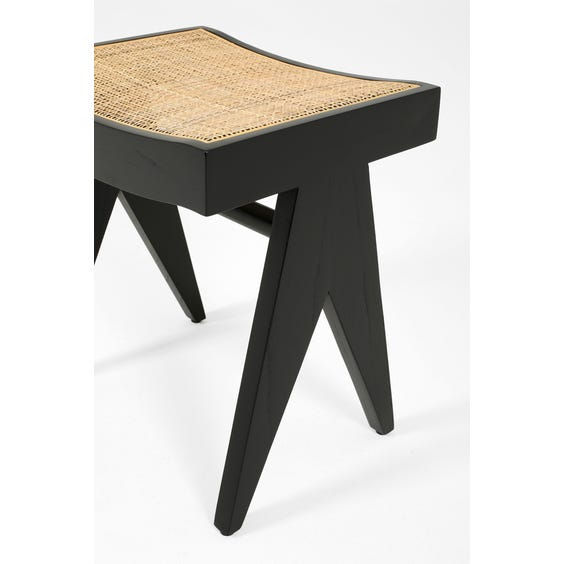 Midcentury ebonised solid wood stool image