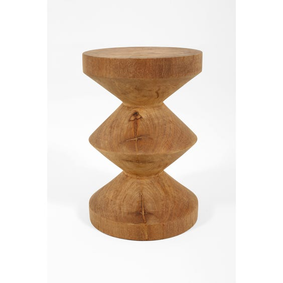 Solid carved wood totem stool image