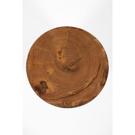 Solid carved wood trefoil stool image