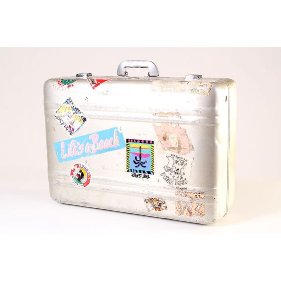 Vintage metal suitcase with stickers image