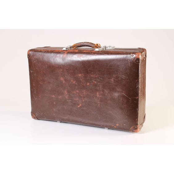 Brown leather vintage suitcase image
