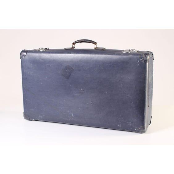 Navy blue leather suitcase image