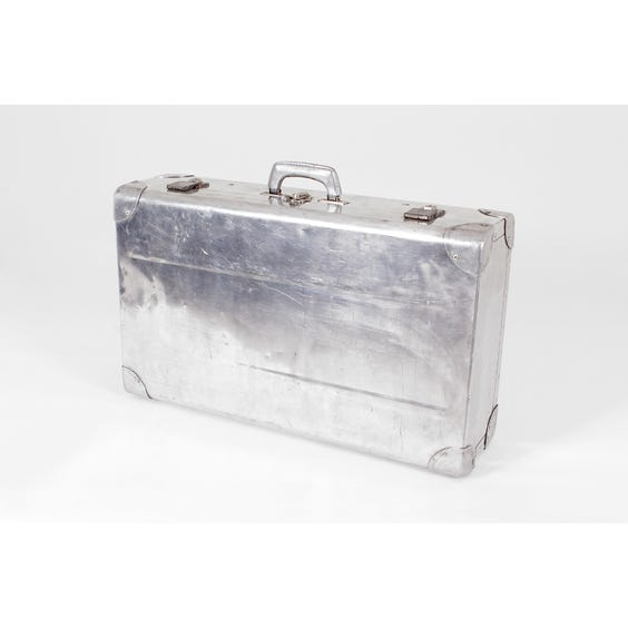 Silver metal vintage suitcase image
