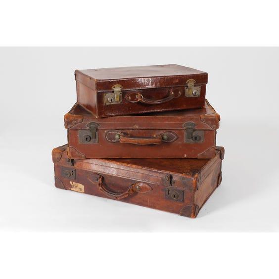 Three vintage brown leather suitcases image