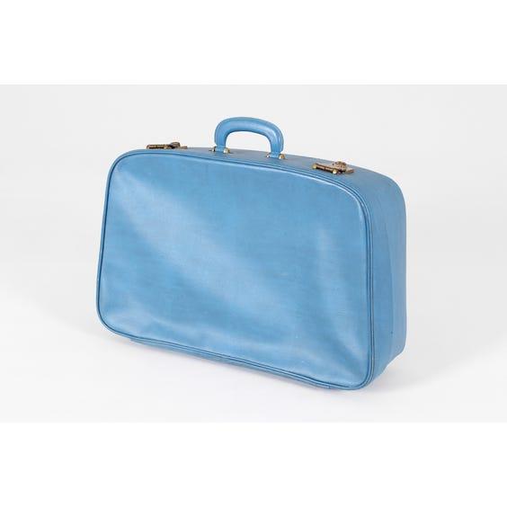 Large cornflower blue vinyl suitcase image