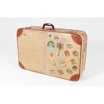 Vintage distressed cream tan suitcase