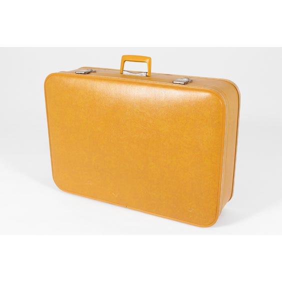 Large vintage mustard vinyl suitcase image