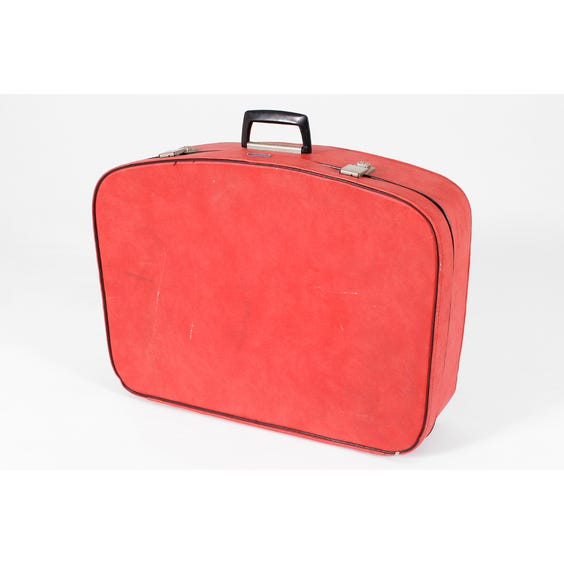 Large red vinyl suitcase image