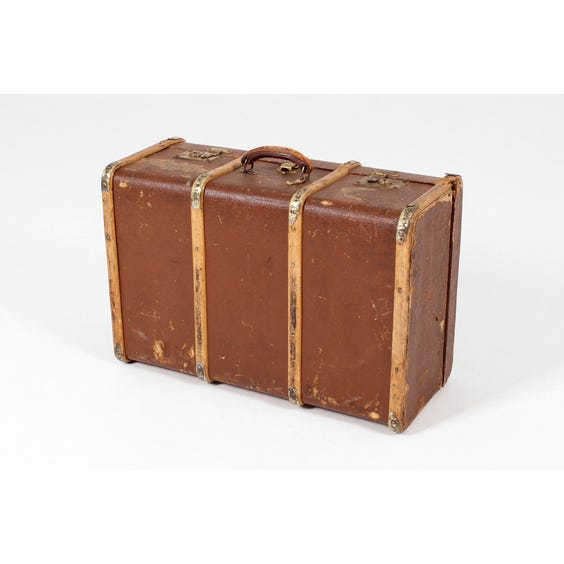 Vintage brown ribbed suitcase image