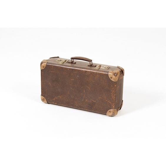 Small vintage brown child's suitcase image