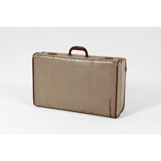 Vintage grey herringbone suitcase image