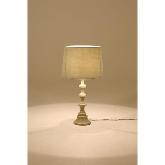 Grey turned wood bobbin lamp image