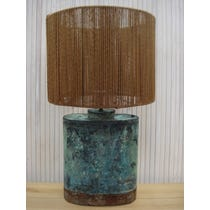 Distressed green copper lamp