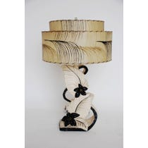 1950s cream black carved floral lamp