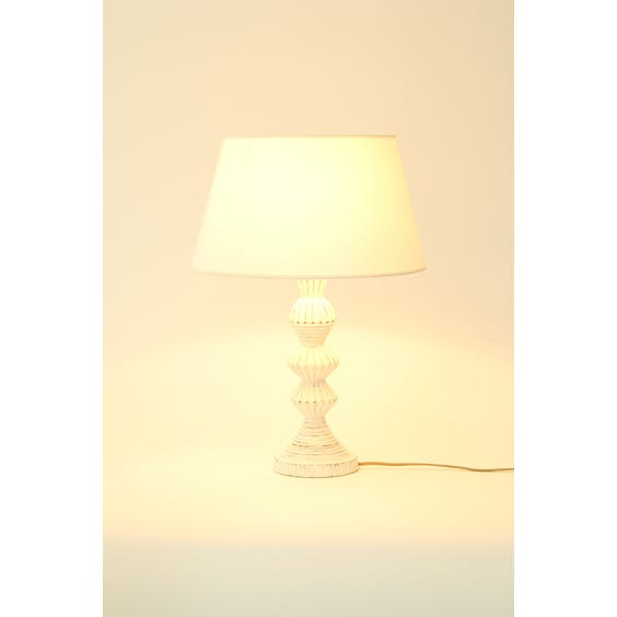 White distressed carved wood lamp image