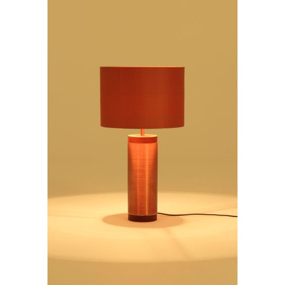 Tall spun copper teak table lamp image