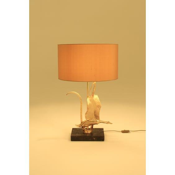Polished brass bird bullrush lamp image