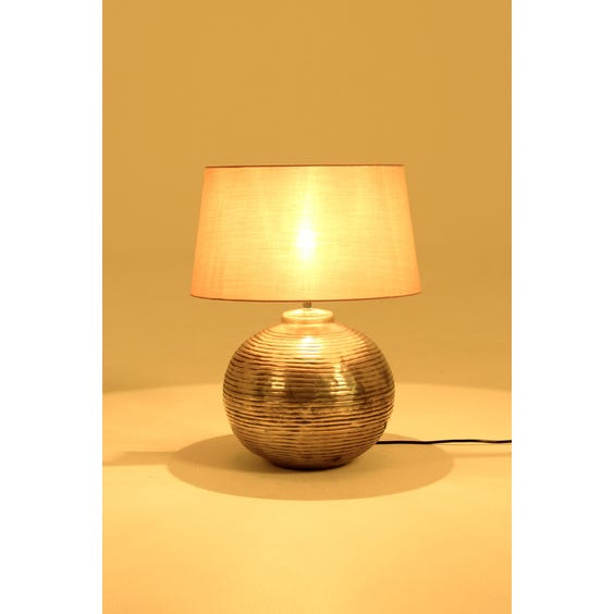Aged silver spherical table lamp image
