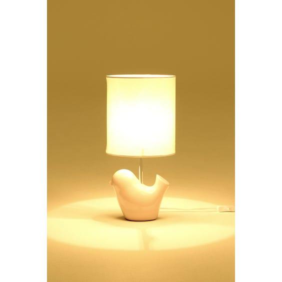 Pink glazed ceramic bird table lamp image