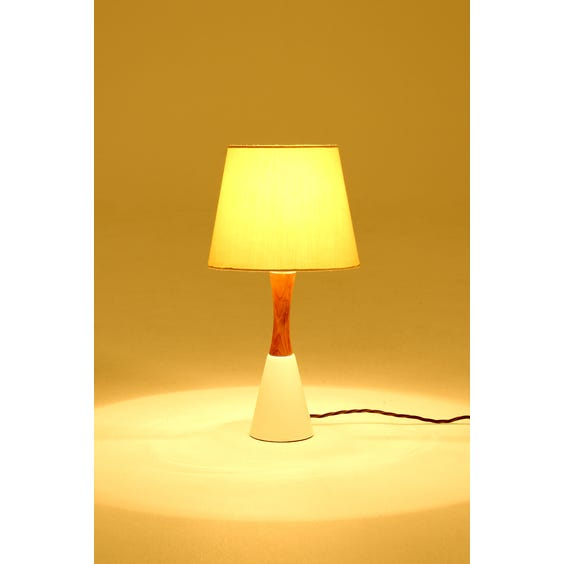 Vintage teak hourglass table lamp image