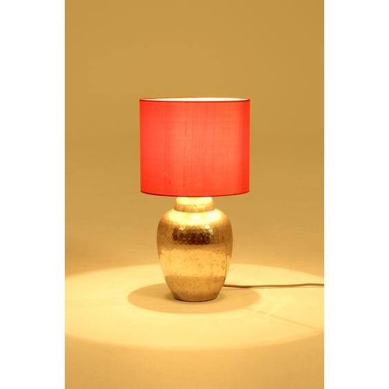 Brass hammered urn table lamp image