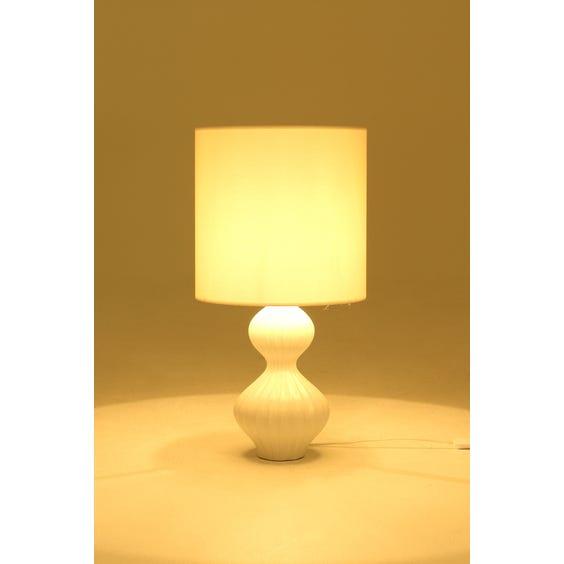White glazed ceramic table lamp image