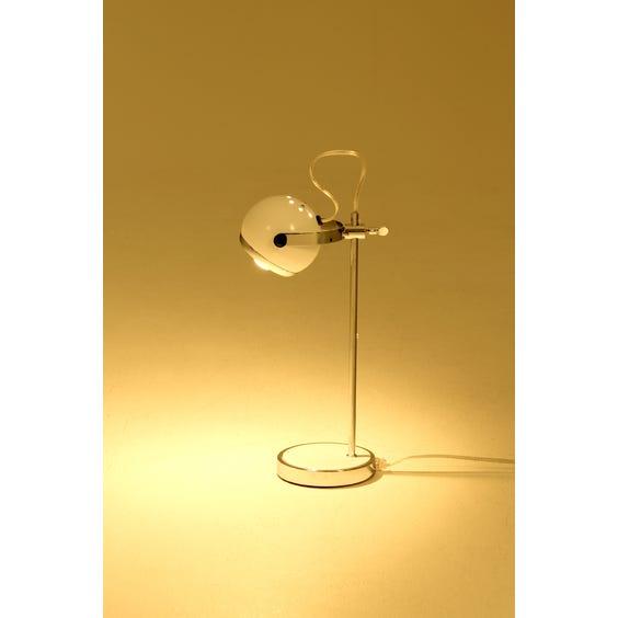 White chrome sphere table lamp image