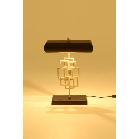Brass multi square sculptural table lamp image