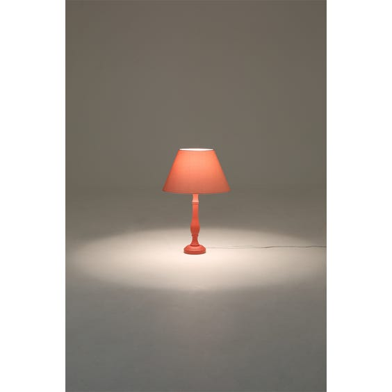 Coral pink candlestick table lamp image