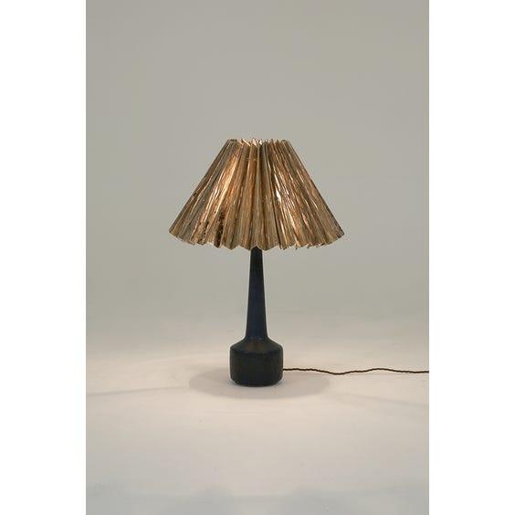 Midcentury blue pleated table lamp  image