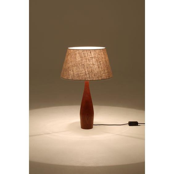 Midcentury teak turned lamp image