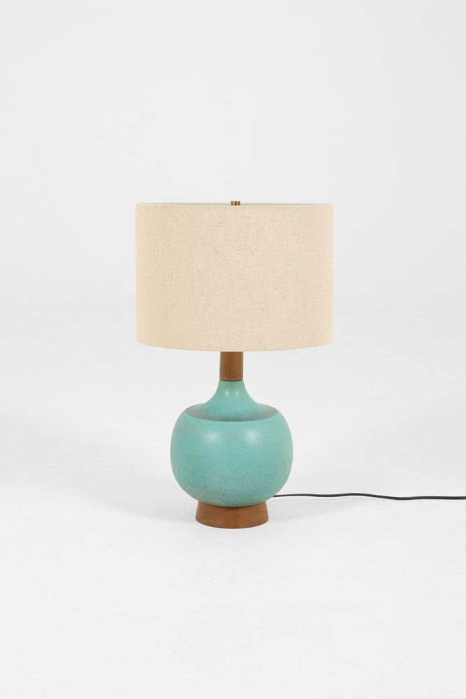 Midcentury Turquoise Ceramic Lamp, Turquoise Ceramic Lamp