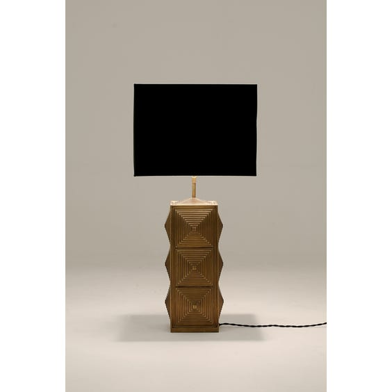 Brass cubic column table lamp image